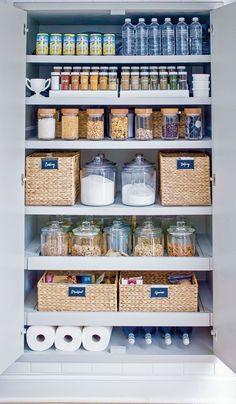 Kitchen Organization Pantry, Home Organisation, Diy Kitchen Storage, Organized Pantry, Life Organization, Open Pantry, Pantry Storage, Pantry Shelving, Shelving Ideas
