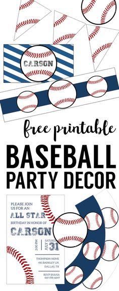 Free Baseball Printables {Baseball Party Decorations}. Baseball birthday party decorations, boy baby shower decor, or mlb world series, or baseball or softball team party DIY decor.