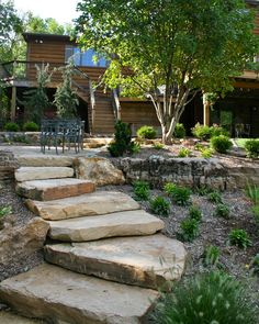 Outdoor Landscaping Ideas Front Yard Maybe you've spotted thi Landscaping On A Hill, Stone Landscaping, Farmhouse Landscaping, Landscaping With Rocks, Outdoor Landscaping, Outdoor Gardens, Landscaping Ideas, Backyard Ideas, Driveway Landscaping