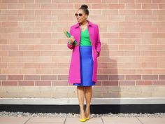 J. Crew Thinsulate Coat, J. Crew No. 2 Pencil Skirt, Gap Essential Tee, C. Wonder Colorblock Clutch, Guess Patent Slingback Shoes, Forever 21 Gold Chain Necklace, and Custom Monogram Necklace