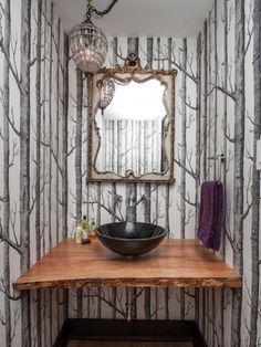 For the guest bath. Papier peint noir et blanc Woods vendu chez Au fil des Couleurs
