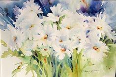Daisy Daze by Yvonne Joyner Watercolor ~ 20 in. including mat x 26 in. including mat