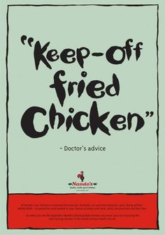 Print advertisement created by Bates, Nigeria for Nando's, within the category: Food.
