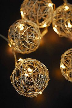 Silver Wire Ball Battery Op. LED String Lights  9ft - 10ct