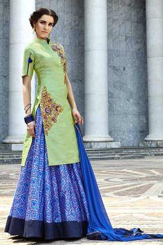 Sea Green & Blue Silk Semi Stitch Lehenga Suit