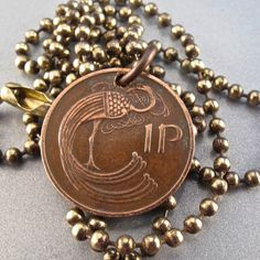 IRELAND coin necklace Celtic jewelry . ireland  1p. by PartsForYou, $14.95