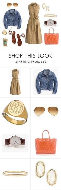 """When Fall Feels Like Summer"" by pinkngreennblack ❤ liked on Polyvore featuring J.Crew, Sarah Chloe, Ray-Ban, Daniel Wellington, Goyard, Kate Spade, Kendra Scott and falldresses"