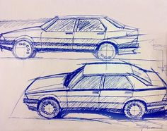 Alfa 75 design sketches by Dr. Ermanno Cressoni