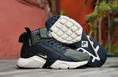 ad97531b66648 Wholesale New Arrival NIke Huarache X Acronym City MID Leather Men s  Running Sports Shoes Army Green   Black