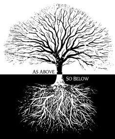 """Tree of Life, """"As above, so below"""" - """"Chronicles of Insanity: Sentient Earth"""" Magick, Witchcraft, Trendy Tattoos, Book Of Shadows, Tree Of Life, Sacred Geometry, Mystic, Illustration, Artwork"""