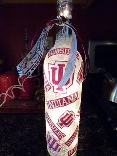 Handmade Lighted Wine Bottle w/ Indiana University HOOSIERS. $20.00, via Etsy.