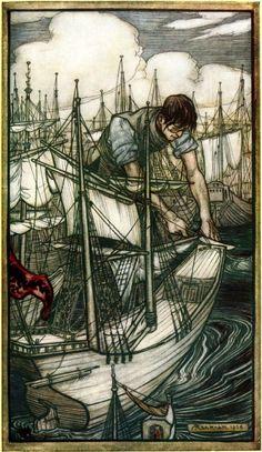 """Gulliver seizes the enemy's fleet. Illustration by Arthur Rackham from """"Gulliver's travels"""" by Jonathan Swift Arthur Rackham, Westminster, Harry Clarke, Kay Nielsen, John Everett Millais, Gulliver's Travels, Ecole Art, Fairytale Art, Children's Book Illustration"""