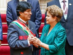 Presidente Dilma Rousseff durante foto oficial da cerimônia de posse do presidente boliviano, Evo Morales, em La Paz - 22/01/2015