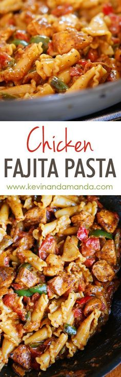This Creamy Chicken Fajita Pasta is a HUGE winner! Everything cooks in one pan (even the noodles!) and it's done in 15 minutes. So, so good!!