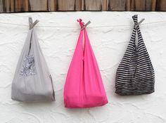 Reusable T Shirt Bag Fold Up Compact Shopping by WildPlumTree