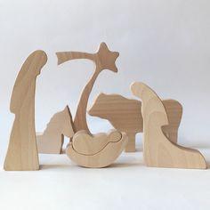 Legno - creche di Natività in legno NATURALE Natività presepe presepe presepe scena Natività figure Nativity silhouette