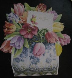 Carol Wilson 10 Blank Note Card Stationery Tulips Flowers Letter Writing