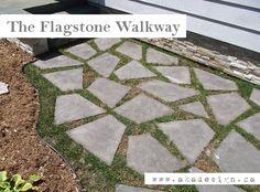 Laying flagstone patio stones