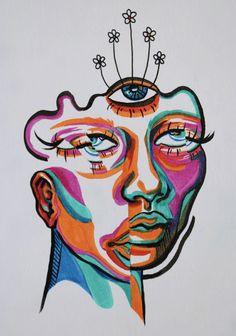 Cool Art Drawings, Art Drawings Sketches, Hippie Painting, Funky Art, Hippie Art, Diy Canvas Art, Arte Pop, Psychedelic Art, Art Sketchbook