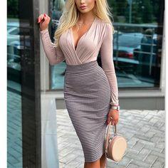 Skinny, Houndstooth, Gorgeous Women, Dress Making, Pink Dress, Sleeve Styles, Dresses Online, Wrap Dress, Bodycon Dress