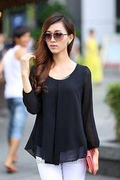 Korean Fashion Womens Loose Chiffon Tops Long Sleeve Casual Shirt Blouse - Clothing World Look Fashion, Korean Fashion, Fashion Outfits, Womens Fashion, Fashion Black, Nigerian Fashion, African Fashion, Long Sleeve Tops, Long Sleeve Shirts