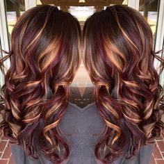 Brunette hair color with burnished blonde highlights Curly long brunette hair <a href=