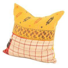 Vintage Yellow Kantha Pillow by Chairish | Chairish