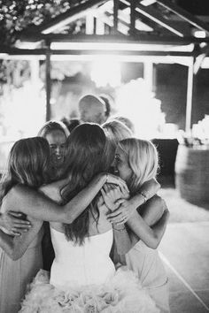 Sweet and sentimental, a group hug on the dance floor at the night's end epitomizes the close bond of your friendship and a moment you'll always remember.Related: 100 Sentimental Wedding Ideas You'll Love #weddingphotos
