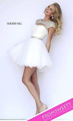 Beads Sweet Sixteen Cute White Dress by Sherri Hill 11191