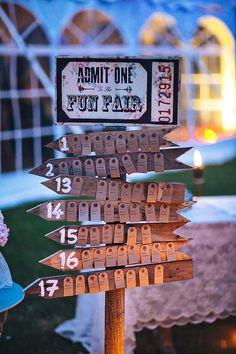 fair ground style alternative table plan | onefabday.com