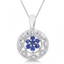 Antique Filigree Sapphire & Diamond Pendant in 14K White Gold (0.22ct)