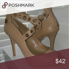 """WHBM Leather Tan Open Toe Heels Tan Leather Open Toe 3.5"""" heel with straps and gold hardware,  zipper I back. White House Black Market Shoes Heels"""