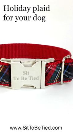Gorgeous red plaid dog collar for Christmas.  Pretty Christmas dog collar for girls created from a vintage dress.