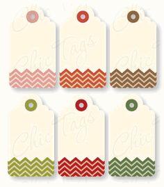 Christmas Chevron Tags - set of 6