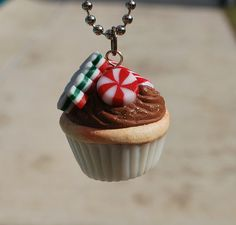 Polymer Clay Christmas Cupcake Necklace