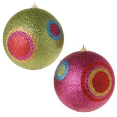 RAZ Large Pink and Lime Green Glittered Polka Dot Ball Christmas Ornament Set of 2         2 Assorted             Set includes one of each             Pink,