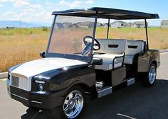 Custom Golf Carts - via Worthly.com  The Royal Limo is a high-end golf cart distributed by Luxurycarts.com that is stylized like a Rolls-Royce. The vehicle offers a host of luxury features like leather seats real polished rims an Alpine radio/CD player and more. Unlike many other golf carts the Royal Limo can easily accommodate six passengers in total. Its a limited edition model from the company and it will run you $25449 dollars for a new one. http://ift.tt/2aZE0jK