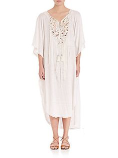 Calypso St Barth Percinta Linen Midi Dress In Coconut Calypso St Barth, Long Fringes, Fringe Trim, Up Styles, Discount Designer, Boho Chic, Lace Up, Clothes For Women, How To Wear