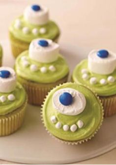 One-Eyed Monster Cupcakes -- These blue-eyed monster cupcakes with green frosting are more fun than scary--and they're also more fun than difficult to decorate!