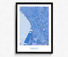 Seattle Downtown Map Poster Art Monochromatic Color de FlatMates en Etsy