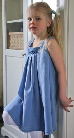 Smocked dress Oliver and S birthday party dress with American smocking.