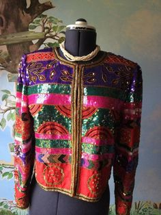 Vintage 1970's Leslie Fay Jacket Evenings Beads Sequins 100% Silk Size M #LeslieFay #EveningJacket