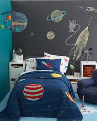 Love the chalkboard wall. It's perfect with the planets theme kids room. Easy to do with the chalk board paint. I have done before you will need about 2-3 coats of chalkboard paint to fully cover and make it durable for years of use.
