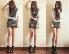 Forever 21 Turquoise Ring, Ripped Top, Black Rivet Skirt, Agent Provocateur Wedges
