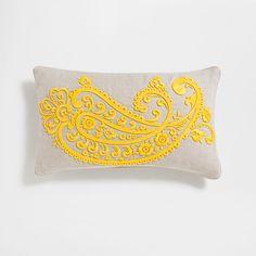 Kissenbezug aus Leinen mit Reliefstickerei in Gelb