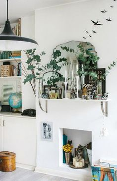 sfgirlbybay / bohemian modern style from a san francisco girl ~ETS Decoration Inspiration, Room Inspiration, Interior Inspiration, My Living Room, Home And Living, Living Spaces, Style Deco, Rustic Shelves, First Home
