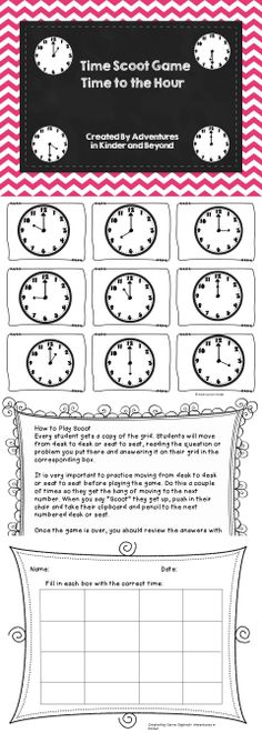 Scoot Game with Time- Great for assessment or as a center Students play a game while practicing telling time to the hour.