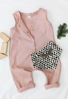 Handmade Linen & Cotton Snap Up Romper in Rose  | TajandMe on Etsy