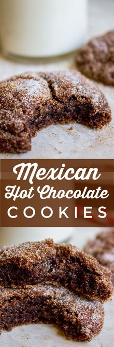 These Mexican Hot Chocolate Cookies could also be called Chocolate Snickerdoodles. A moist and tender chocolate cookie, with slightly crisp edges and a perfectly crackly top, rolled in cinnamon sugar for the perfect chocolate-cinnamon combo! Mini Desserts, Cookie Desserts, Christmas Desserts, Christmas Baking, Just Desserts, Cookie Recipes, Delicious Desserts, Dessert Recipes, Yummy Food