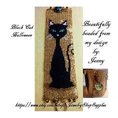 Peyote+Pattern+BLACK+CAT+HALLOWEEN+Beaded+by+CajunsDesignPatternS,+$6.50